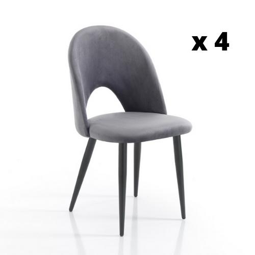 Stuhl Nail Satz von 4   Grau