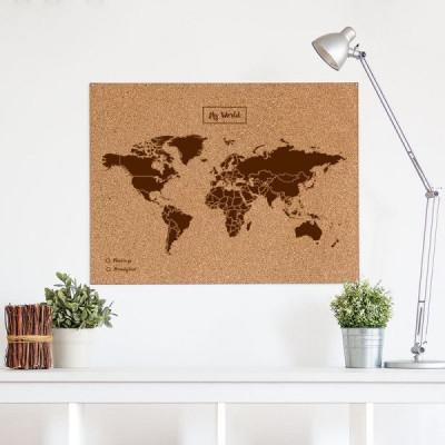 Woody World Map Cork | Brown