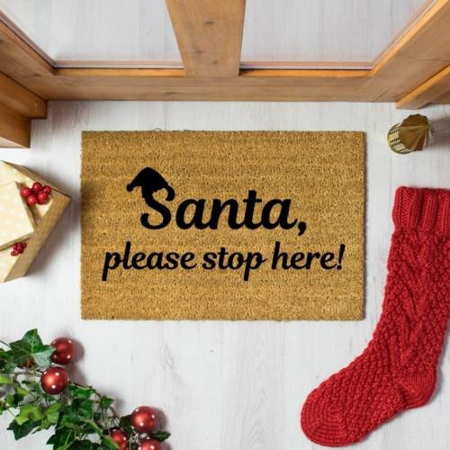 Weihnachtsmann Bitte hier anhalten Fußmatte