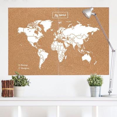 Woody World Map Cork | White