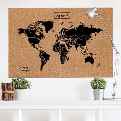 Woody World Map Cork | Black