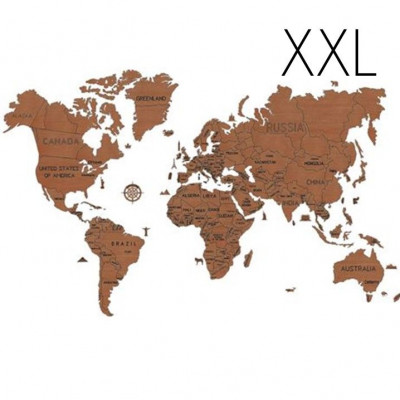 3D Puzzle Wood World Map XXL | Dark Brown