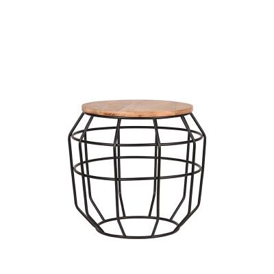 Ecktisch Pixel 51x51x46 cm   Mango Holz - Graues Metall