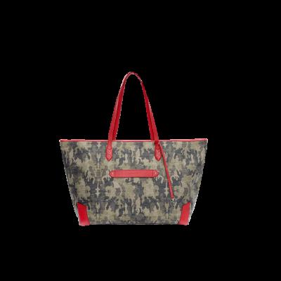 Sansibar-Wochenendtasche | Lurex Camou Kaki und Baywatch Red Leather