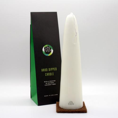 Handgetauchte Kerze + Kokosnuss-Untersetzer   H 30 cm