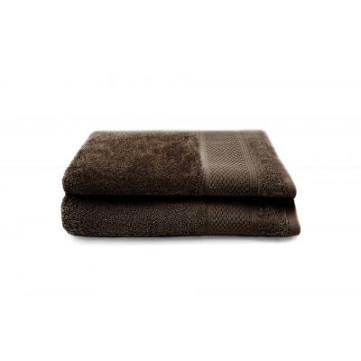 Set of 2 Bath Towels Gigi 50x100 cm | Chocolate