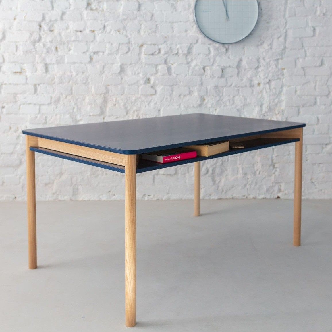 Zeen Dining Table with Shelf | Navy