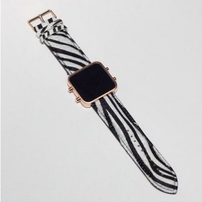 Digital Watch | Rose Gold, Zebra Bracelet