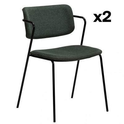 2er Set Stühle Zed | Salbeigrün & Schwarze Beine