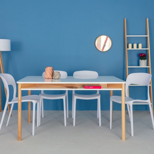 Zeen Dining Table with Shelf   White