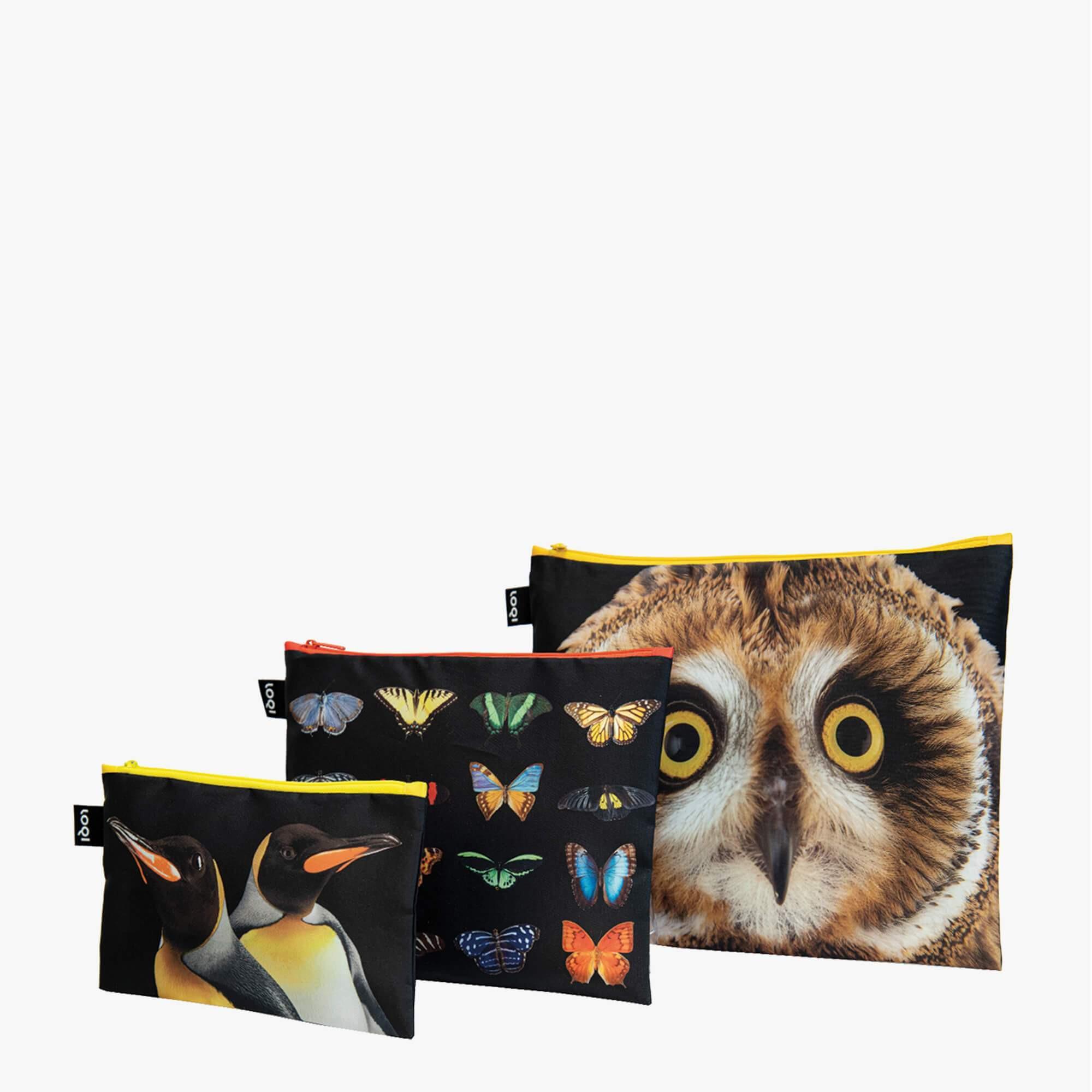 3er-Set Zip Pockets National Geographic | Eule, Schmetterlinge, Pinguine