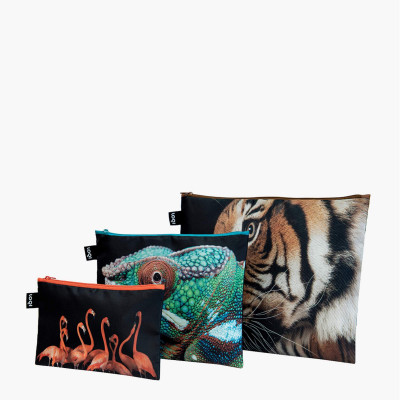 3er-Set Zip Pockets National Geographic   Tiger, Chamäleon, Flamingos