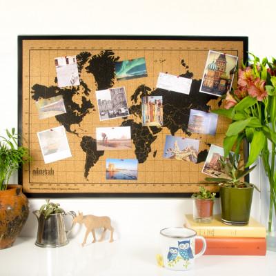 Bulletin Board mit Weltkarte | Schwarz / Schwarz