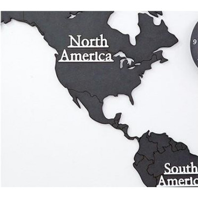 Worldmap & Wall Clock Set   Black & Black