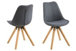 Set of 2 Chairs Nida | Anthracite & Wood