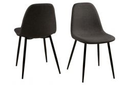 Chaise Wendy | Set de 4 | Gris/Noir