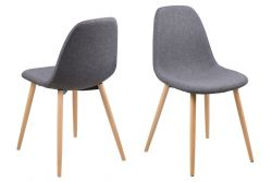Chair Wendy Set of 4 | Light Grey/Wood