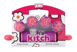 Kids Rolling Pin with 4 Cookie-Cutters | Pink