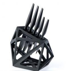 Messerblock Schwarzer Diamant + 5 Messer | Schwarz