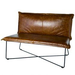 Leather Bench Lewis Back | Brown Leather