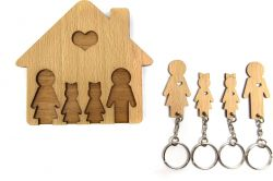 Keyholder with Set of Keychains | Family with 2 Daughters