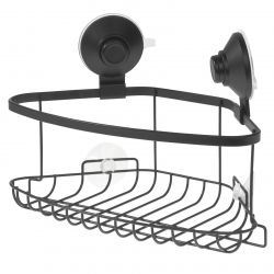 Corner Caddy with Suction Cup and Push Lock | Black