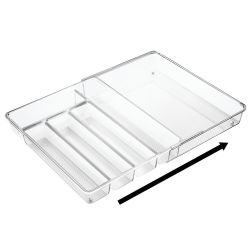 Expandable Cutlery Tray Organiser 37 x 29 x 6 | Transparent