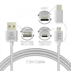 2-in-1 Charging Cable Micro USB - USB-C Reversible
