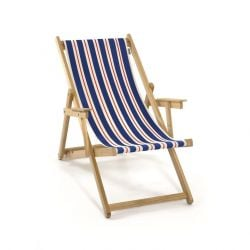 Beach Chair | Blue/Natural/Red Canvas