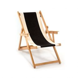 Strandstoel | Canvas Zwart/Naturel/Wit