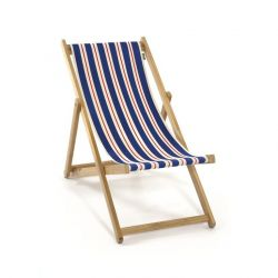 Armless Beach Chair | Blue/Natural/Red Canvas