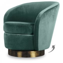 Yves Swivel Chair Velvet | Thyme Green