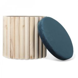 Coffre Stool | Nature & Blue