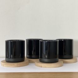 Mugs and Coasters Black | Set of 4