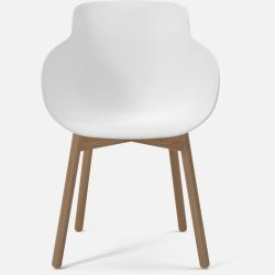 HUG Dining Chair | White with Oiled Oak Legs