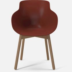 HUG Dining Chair | Red with Oiled Oak Legs