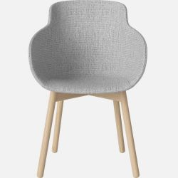 HUG Dining Chair | Upholstered Light Gray / White Oiled Oak