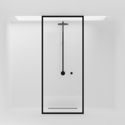Glaswand Voor Douche Shower Wall | Zwart