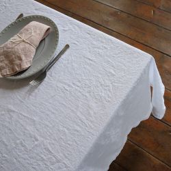 Stone Washed Table Cloth | Optical White
