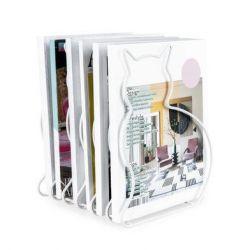 Zeitschriftenregal Rack Katze | Weiß