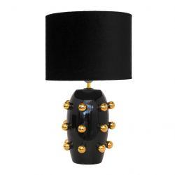 Tischlampe Keramik Große Punkte | Schwarz