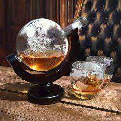 Decanter + 2 Glazen | Wereldbol