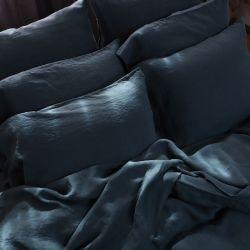 Kopfkissenbezug aus steingewaschenem Leinen | Balsamgrün