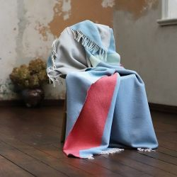 Marco Merino Wool Throw | Stone Blue Coral