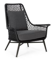 Outdoor Armchair with Cushion Cristobal | Black