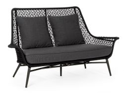 Outdoor-2er-Sofa mit Kissen Cristobal | Schwarz