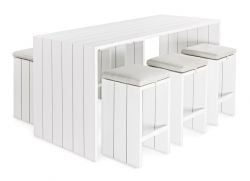 Outdoor Bar Table + 6 Bar Stools Atlantic | White