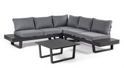 Outdoor-Sitzecke + Beistelltisch Crozet | Dunkelgrau