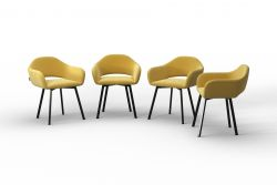 Set Of 4 Chairs Oldenburg | Yellow-Velvet Touch