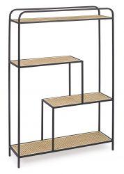 Bücherregal in Form von Elyot 4SH | Schwarz und Ratan